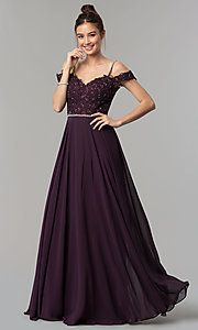 Image of long cold-shoulder chiffon prom dress with lace. Style: DQ-2327 Detail Image 4