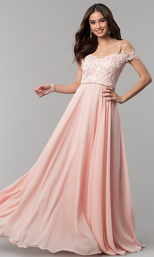 Image of long cold-shoulder chiffon prom dress with lace. Style: DQ-2327 Front Image