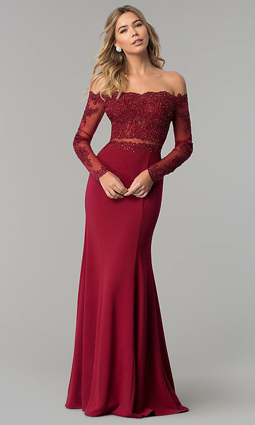 Image of long off-the-shoulder prom dress with long sleeves. Style: DQ-2275 Front Image