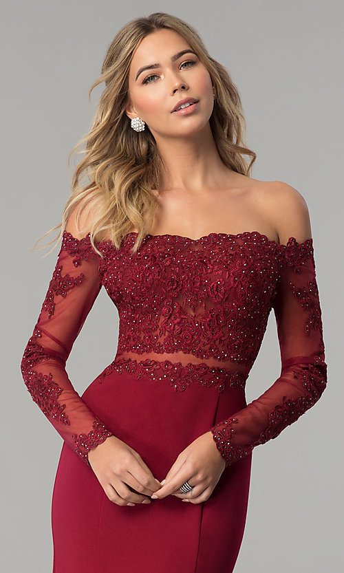Image of long off-the-shoulder prom dress with long sleeves. Style: DQ-2275 Detail Image 1