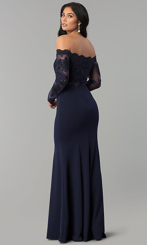 Image of long off-the-shoulder prom dress with long sleeves. Style: DQ-2275 Back Image