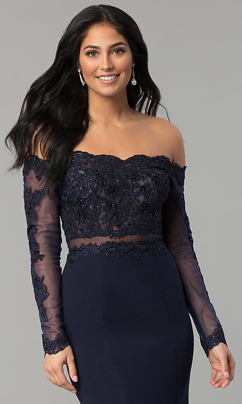 Image of long off-the-shoulder prom dress with long sleeves. Style: DQ-2275 Detail Image 3