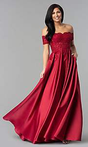 Image of long off-the-shoulder lace and satin prom dress. Style: DQ-2279 Detail Image 3