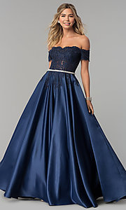 Image of long off-the-shoulder lace and satin prom dress. Style: DQ-2279 Front Image