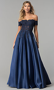 Image of long off-the-shoulder lace and satin prom dress. Style: DQ-2279 Detail Image 1