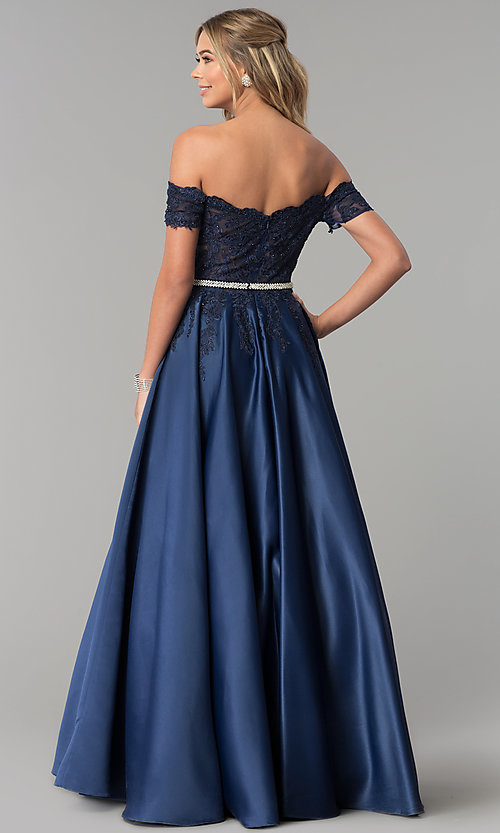 Image of long off-the-shoulder lace and satin prom dress. Style: DQ-2279 Back Image