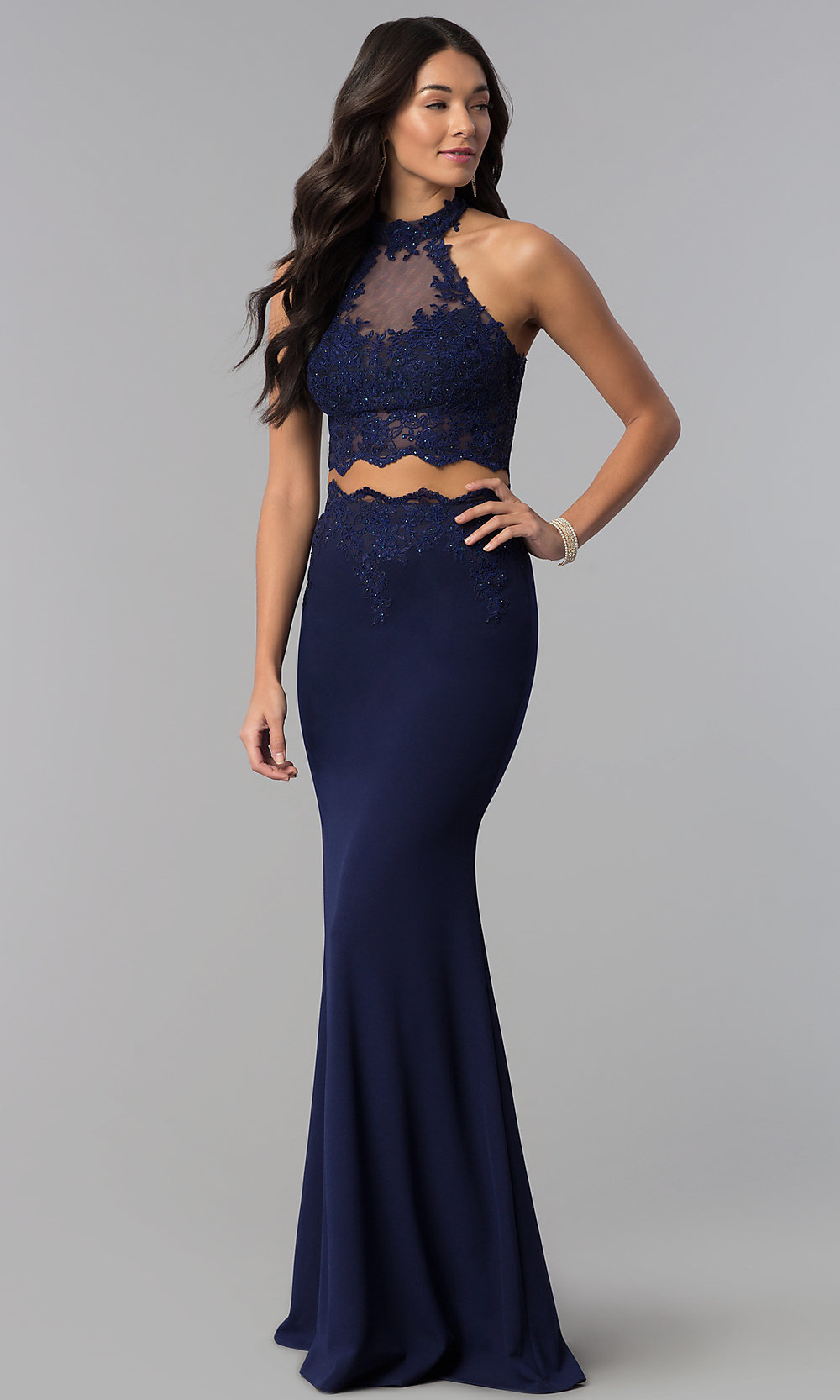 f36158ec7771a Tap to expand · Image of high-neck two-piece prom dress ...