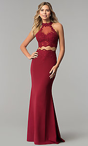 Image of high-neck two-piece prom dress with lace applique. Style: DQ-2356 Detail Image 3