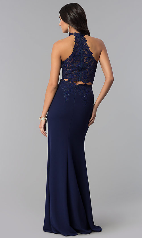 Image of high-neck two-piece prom dress with lace applique. Style: DQ-2356 Back Image