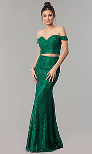 Image of off-the-shoulder lace two-piece long prom dress. Style: DQ-2299 Detail Image 3