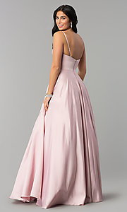 Image of long v-neck prom dress with adjustable straps. Style: DQ-2339 Back Image