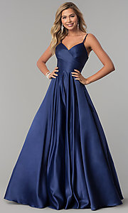 Image of long v-neck prom dress with adjustable straps. Style: DQ-2339 Detail Image 3