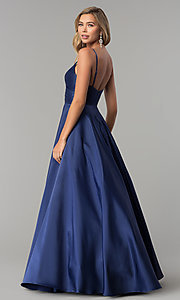 Image of long v-neck prom dress with adjustable straps. Style: DQ-2339 Detail Image 5