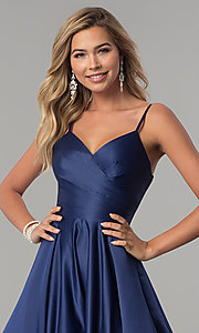 Image of long v-neck prom dress with adjustable straps. Style: DQ-2339 Detail Image 6