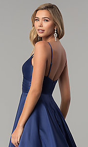 Image of long v-neck prom dress with adjustable straps. Style: DQ-2339 Detail Image 7