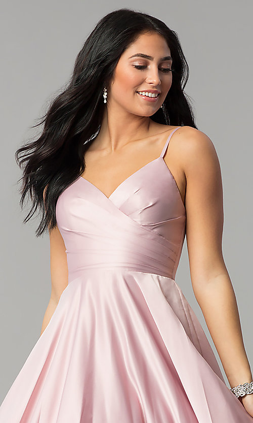 Image of long v-neck prom dress with adjustable straps. Style: DQ-2339 Detail Image 1