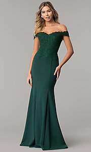 Image of sweetheart off-the-shoulder long prom dress with lace. Style: DQ-2358 Detail Image 1