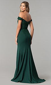 Image of sweetheart off-the-shoulder long prom dress with lace. Style: DQ-2358 Back Image