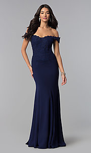 Image of sweetheart off-the-shoulder long prom dress with lace. Style: DQ-2358 Detail Image 2