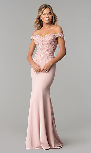 e11b3b4c2fa1 Sweetheart Off-the-Shoulder Long Prom Dress with Lace
