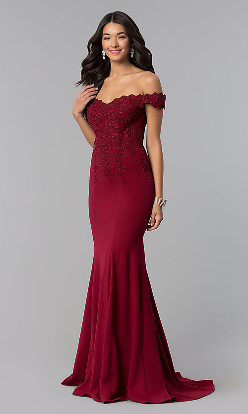 Image of sweetheart off-the-shoulder long prom dress with lace. Style: DQ-2358 Front Image
