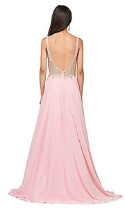 Image of long a-line chiffon prom dress with beaded bodice. Style: DQ-2259 Detail Image 4