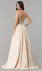 Image of long a-line chiffon prom dress with beaded bodice. Style: DQ-2259 Back Image