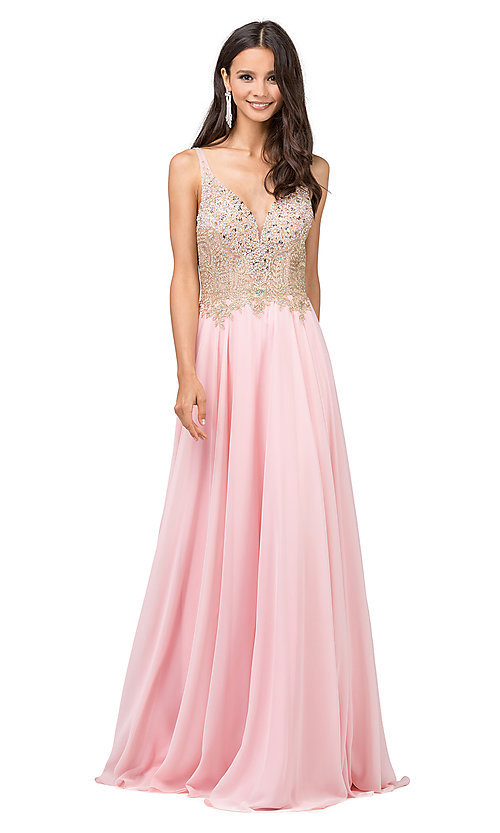 Image of long a-line chiffon prom dress with beaded bodice. Style: DQ-2259 Detail Image 3