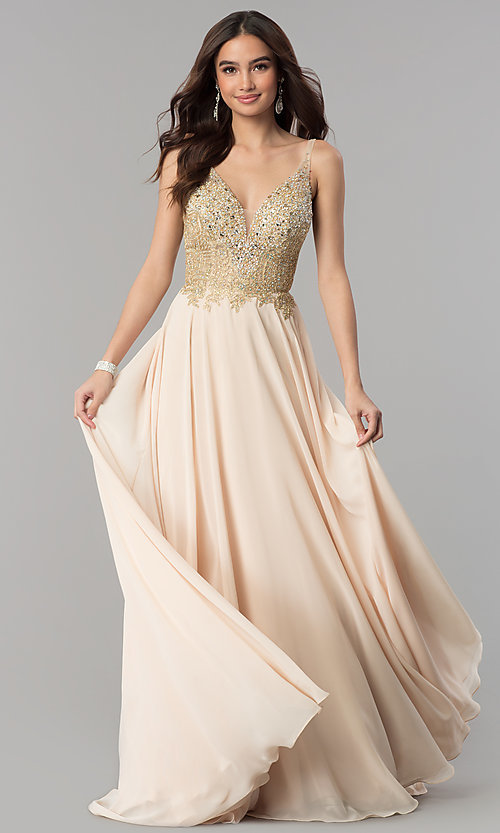 Image of long a-line chiffon prom dress with beaded bodice. Style: DQ-2259 Front Image
