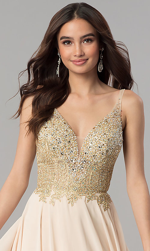 Image of long a-line chiffon prom dress with beaded bodice. Style: DQ-2259 Detail Image 1
