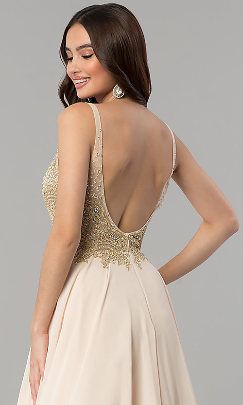 Image of long a-line chiffon prom dress with beaded bodice. Style: DQ-2259 Detail Image 2