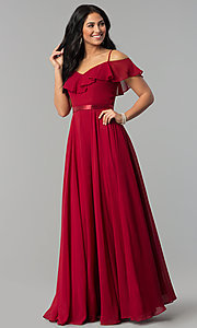 Image of long chiffon prom dress with ribbon waist. Style: DQ-2377 Detail Image 2