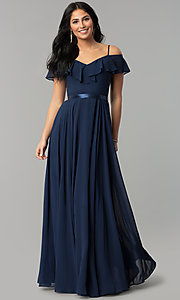 Image of long chiffon prom dress with ribbon waist. Style: DQ-2377 Detail Image 1
