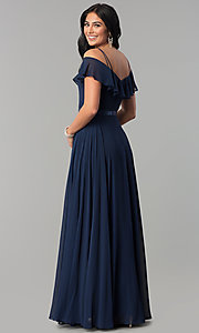 Image of long chiffon prom dress with ribbon waist. Style: DQ-2377 Back Image