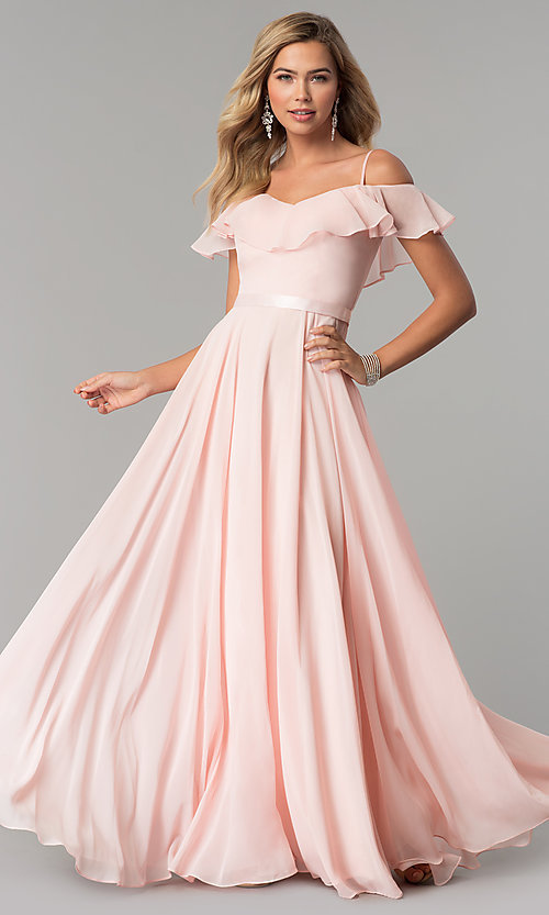 Image of long chiffon prom dress with ribbon waist. Style: DQ-2377 Detail Image 3