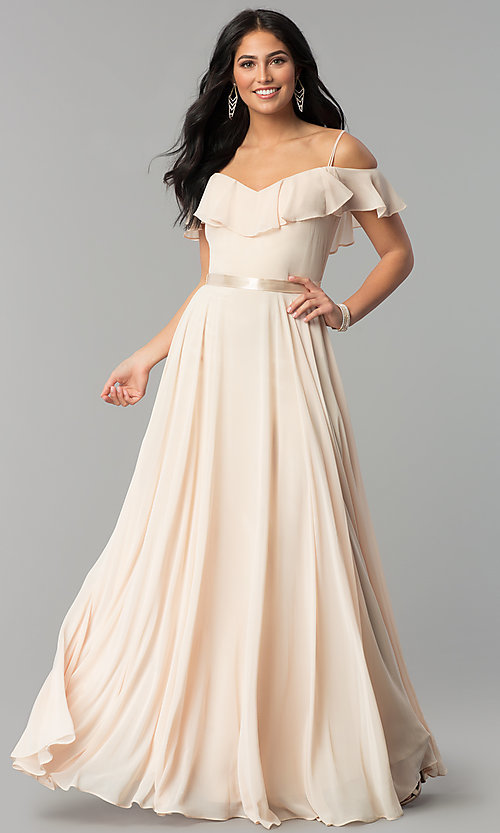Image of long chiffon prom dress with ribbon waist. Style: DQ-2377 Front Image