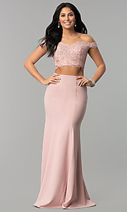 Image of two-piece lace-top corset long jersey prom dress. Style: DQ-2353 Front Image