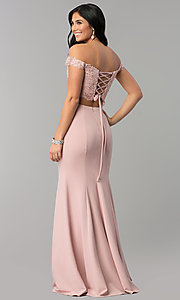 Image of two-piece lace-top corset long jersey prom dress. Style: DQ-2353 Back Image