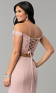Image of two-piece lace-top corset long jersey prom dress. Style: DQ-2353 Detail Image 2