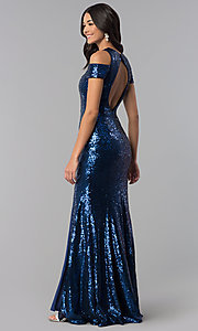 Image of long cold-shoulder sequin prom dress with high neck. Style: DQ-2360 Back Image