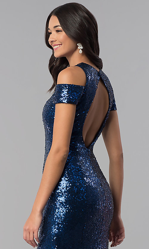 Image of long cold-shoulder sequin prom dress with high neck. Style: DQ-2360 Detail Image 2