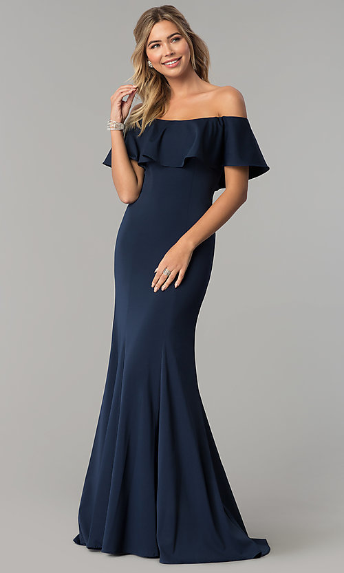 Image of ruffled off-the-shoulder princess-cut prom dress. Style: DQ-2348 Detail Image 2