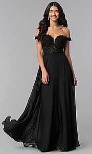 Image of a-line long off-the-shoulder prom dress with lace. Style: DQ-2357 Front Image