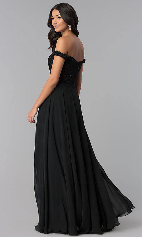 Image of a-line long off-the-shoulder prom dress with lace. Style: DQ-2357 Back Image