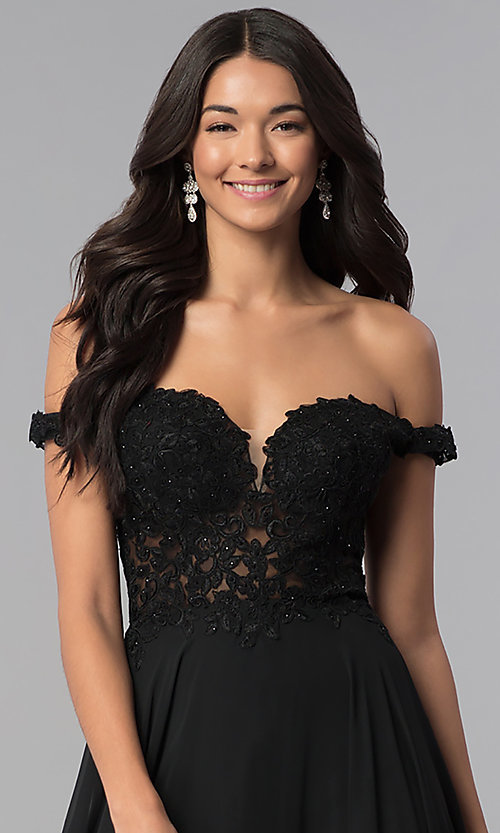 Image of a-line long off-the-shoulder prom dress with lace. Style: DQ-2357 Detail Image 1