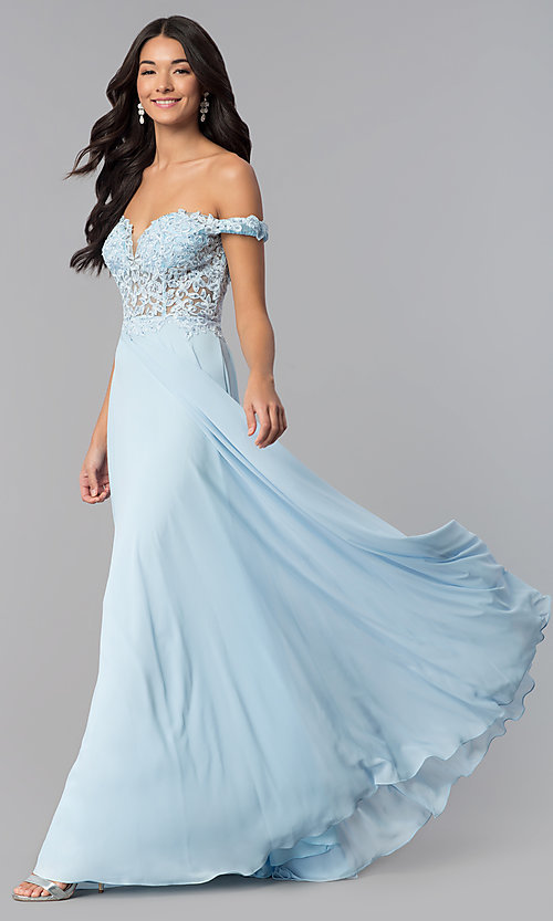 Image of a-line long off-the-shoulder prom dress with lace. Style: DQ-2357 Detail Image 2