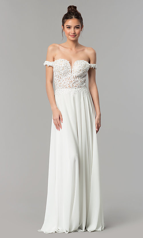 Image of a-line long off-the-shoulder prom dress with lace. Style: DQ-2357 Detail Image 3