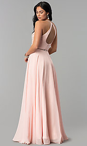 Image of long a-line prom dresses with sheer waist and beads. Style: DQ-2341 Detail Image 3