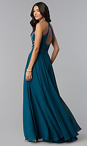 Image of long a-line prom dresses with sheer waist and beads. Style: DQ-2341 Back Image