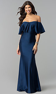 Navy Long Prom Dress with Off-the-Shoulder Flounce
